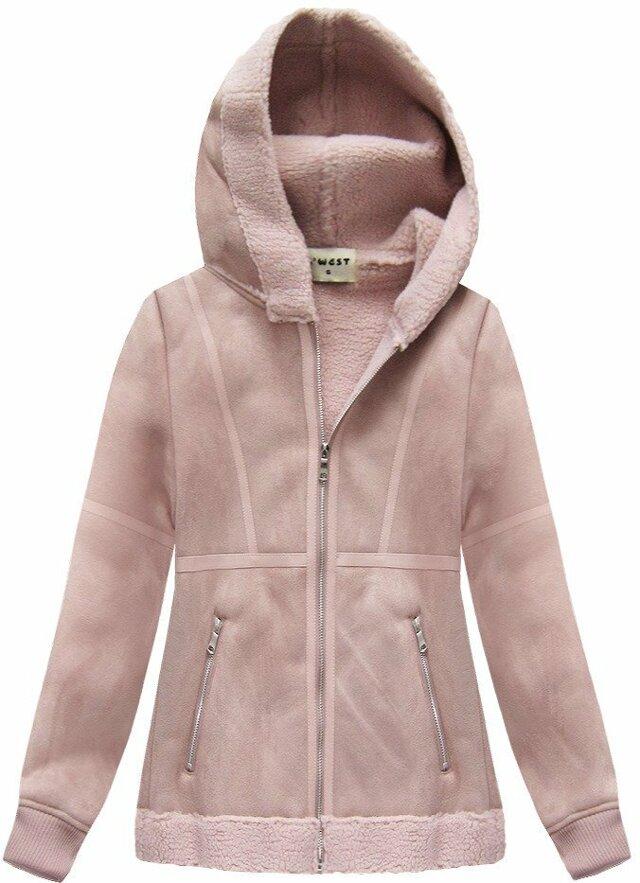 Semišový kožíšek v pudrově růžové barvě s kapucí (S-1806) - M (38) - růžová