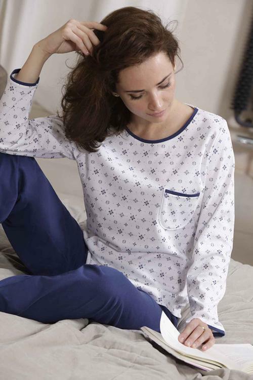 Dámské pyžamo Cana 338 XXL - XXL - bílá-granátová (modrá)