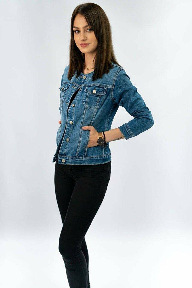 Krátká světle modrá džínová dámská bunda (M1202) - S (36) - Modrá