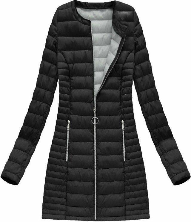 Dlouhá černá prošívaná bunda (21810) - L (40) - černá