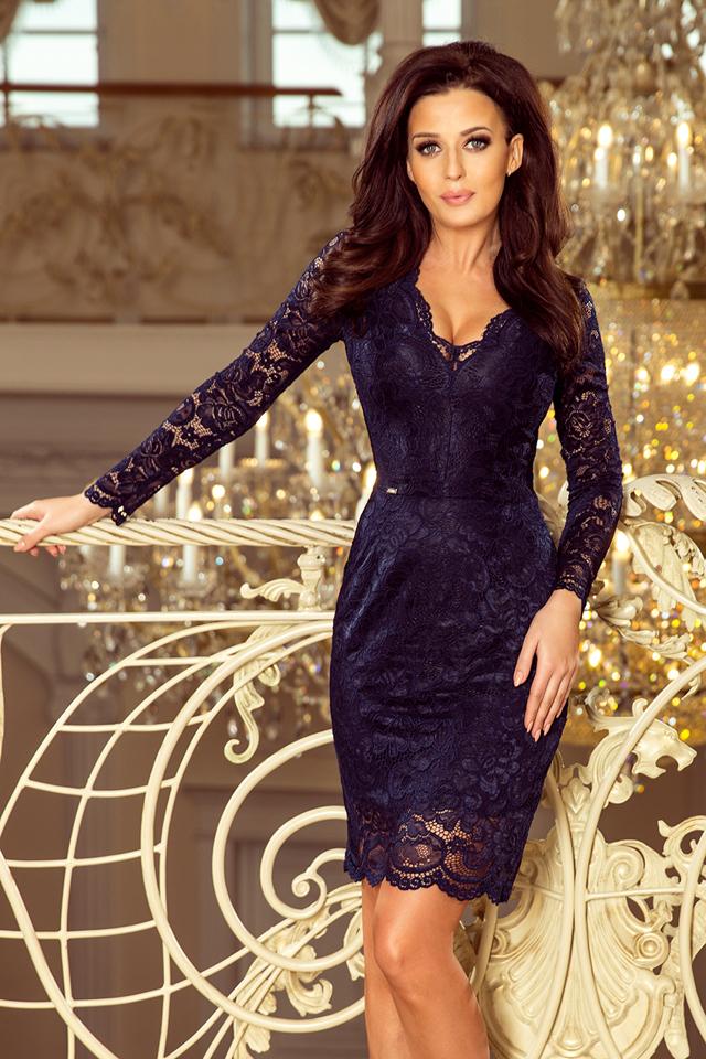 d9c474ebb9cf Dámské tmavě modré krajkové šaty s výstřihem a dlouhými rukávy 170-7 - XL