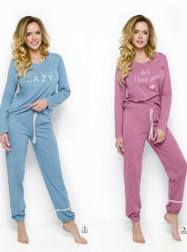 1d4a761ab5b 2230 Dlouhé dámské pyžamo JULA S-XL - tyrkysová žíhaná - L