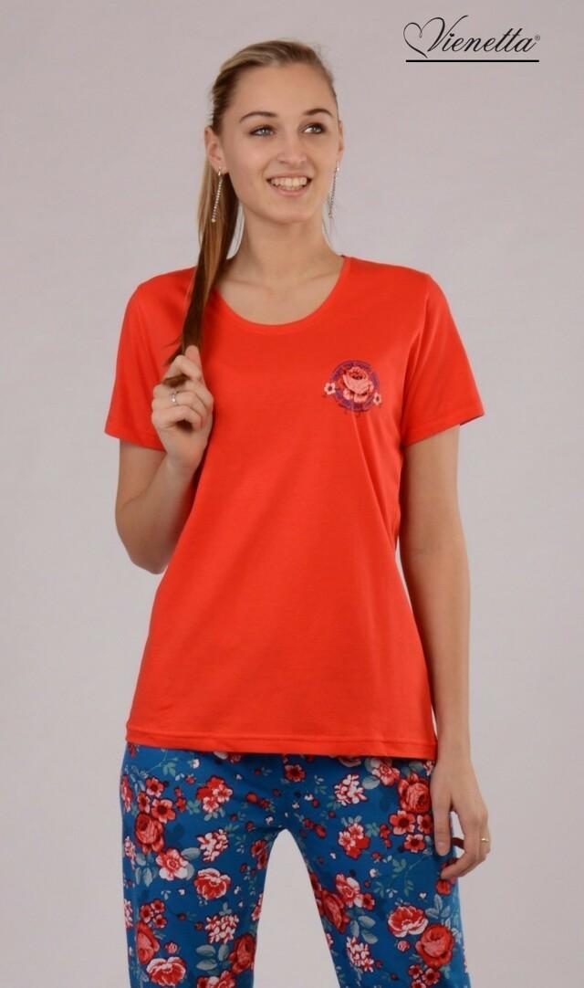 Dámské pyžamo s krátkým rukávem Květ - tmavě růžová S