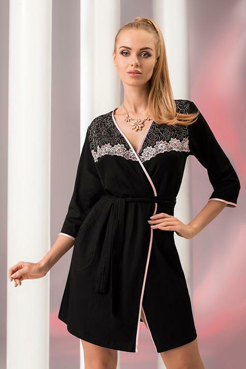 Dámský župan Donna Erika SZ black-pink - XL - černá-růžová