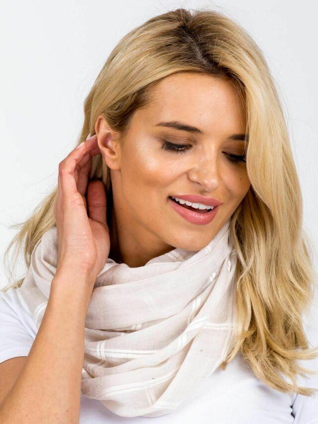 Béžový kostkovaný šátek - ONE SIZE