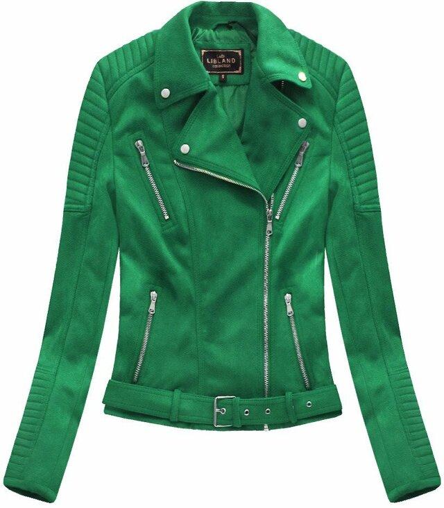 Zelená dámská bunda ramoneska se sponou(6008) - S (36) - zelená
