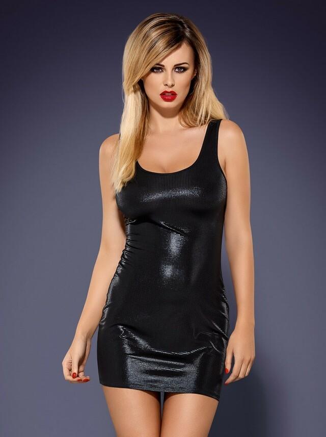Šaty Obsydian wetlook - Obsessive - S/M - černá