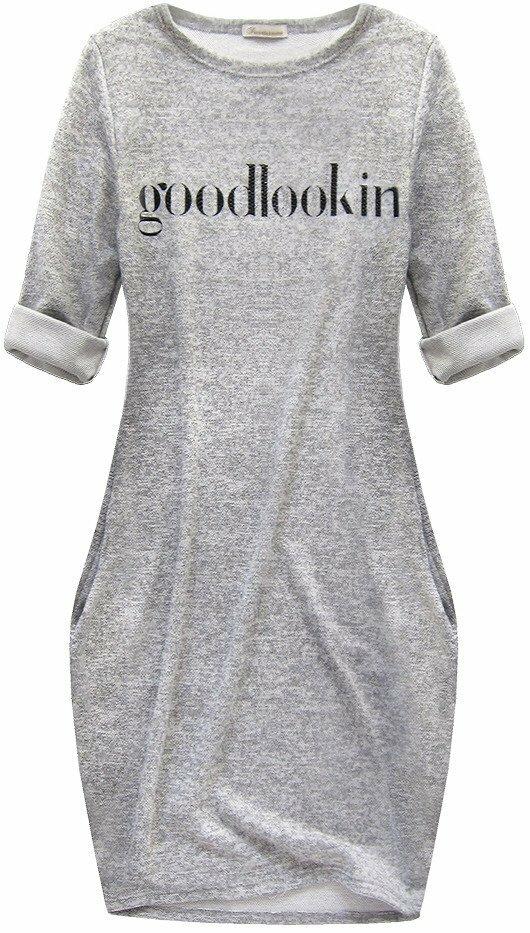 Dámské šaty s nápisem 129 - Goodlookin - M/L - šedá melange