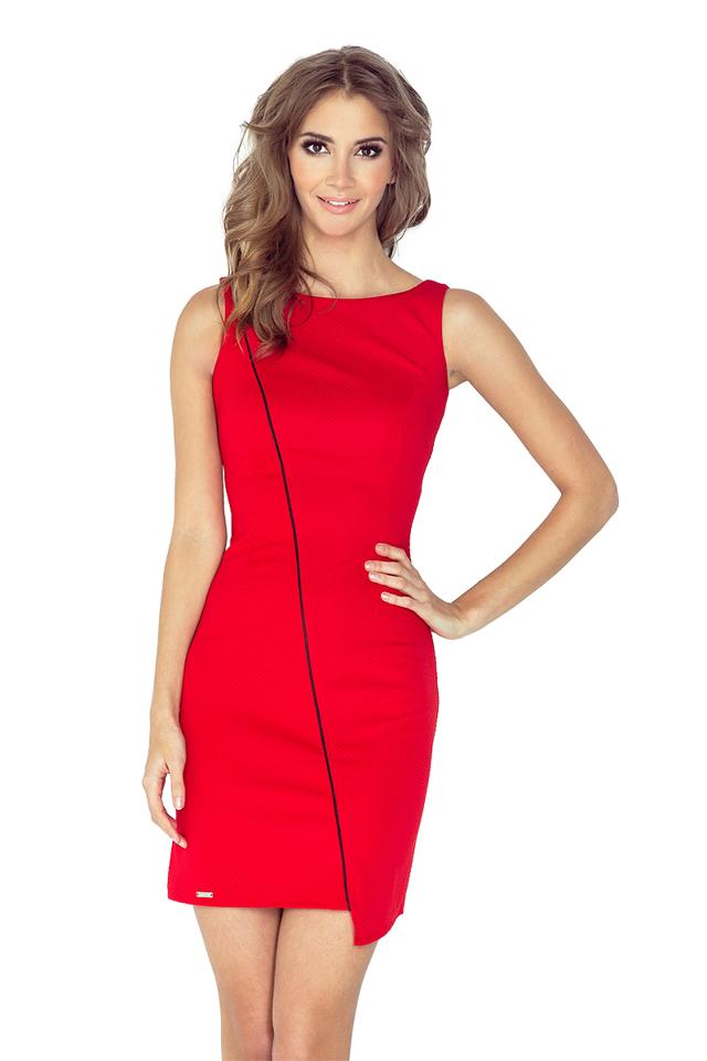 Červené asymetrické šaty s lemem MM 004-4