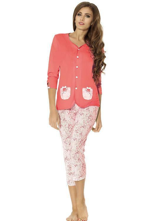 Dámské pyžamo Luna 697-2 - XL - korálová 9657501a62