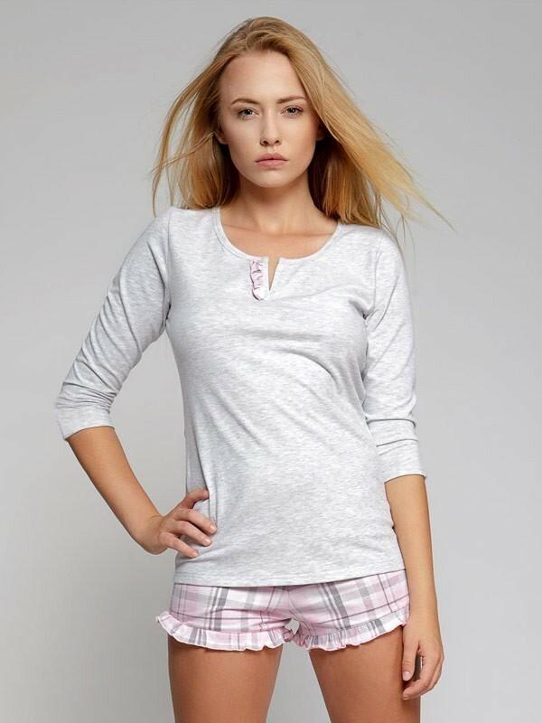 Dámské krátké pyžamo Sweet Dreams - Sensis - L - šedo-růžová