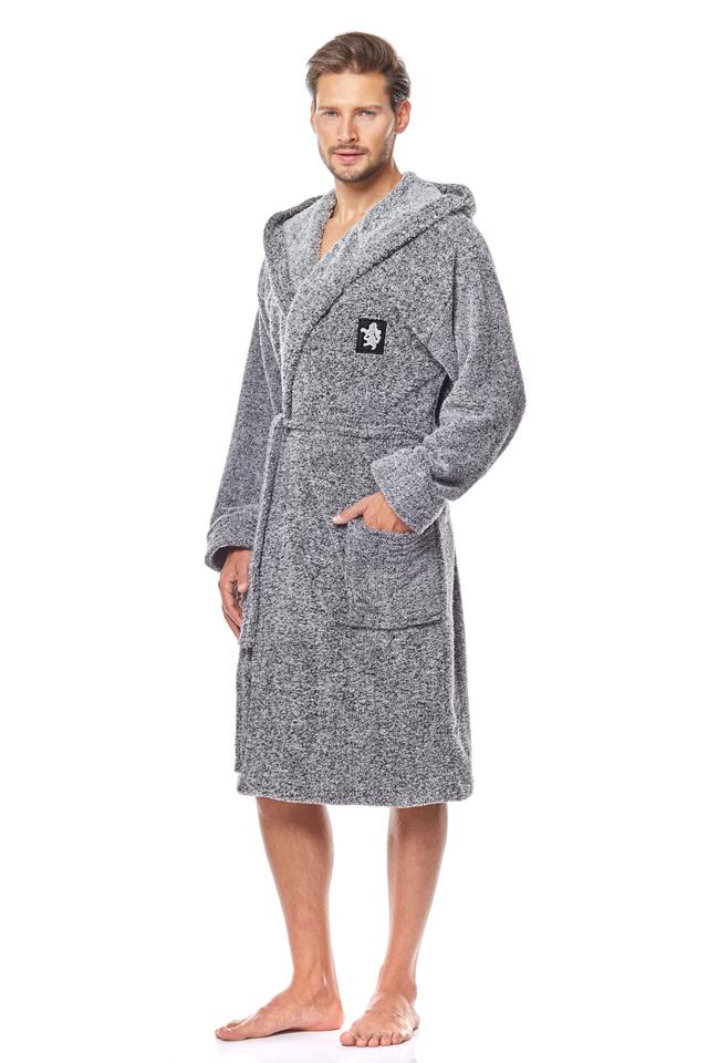 Pánský župan BRUCE - šedá-žíhaná - XL
