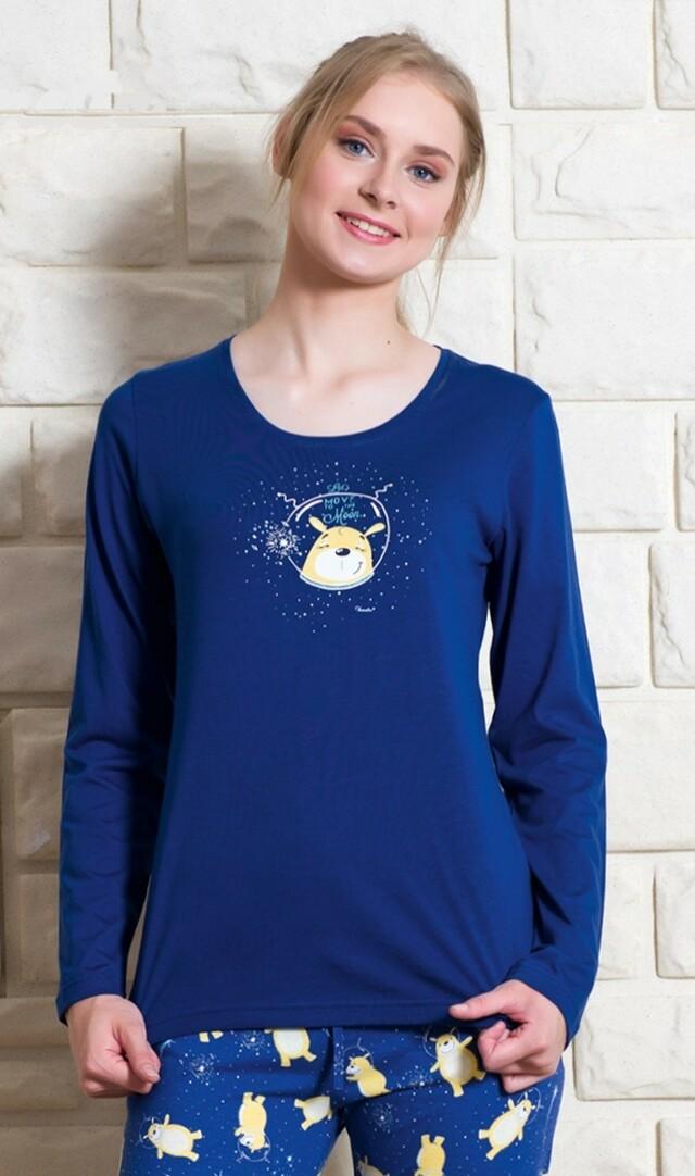 Dámské pyžamo dlouhé Méďa a měsíc - světle lososová S