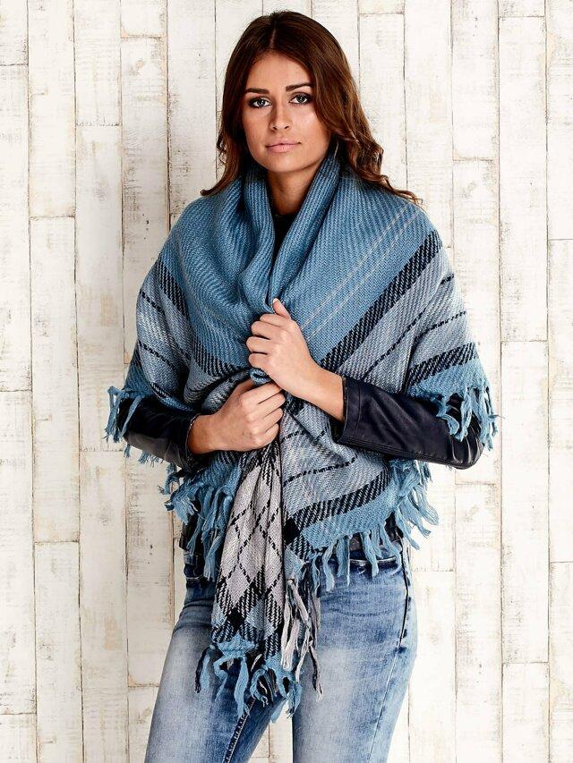 Dámský modrý pletený šátek s třásněmi -