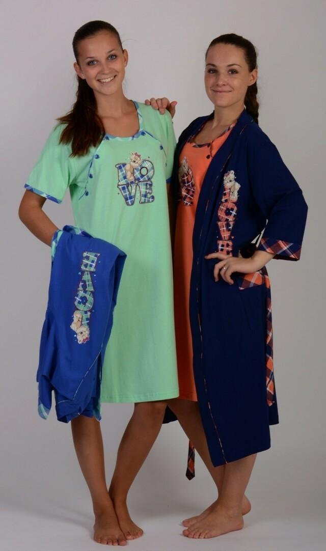 Dámský župan s mateřskou košilí Love - azurová/tmavě modrá XL