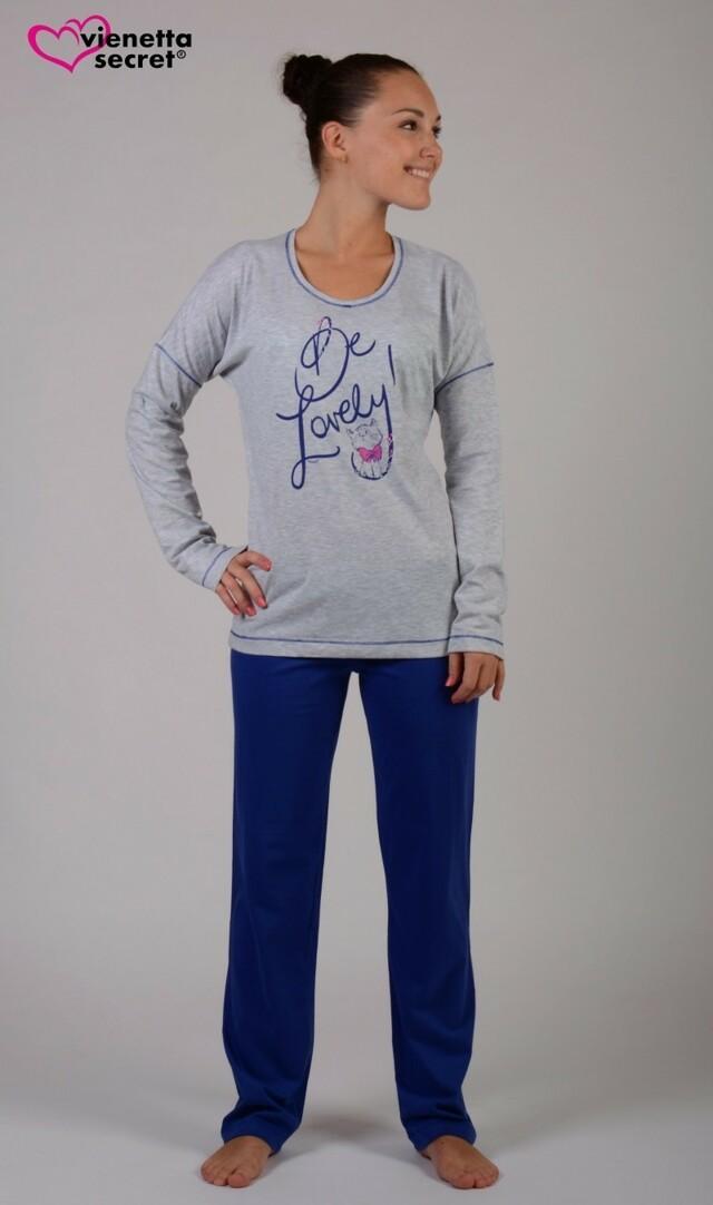 Dámské pyžamo dlouhé Kočka Lovely - světle šedá XL