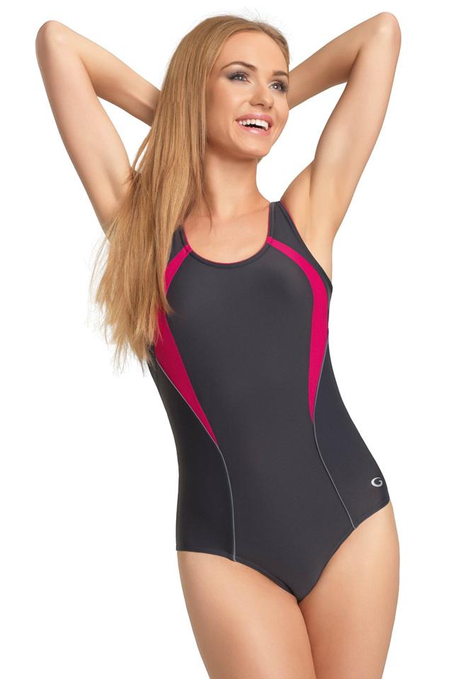 Dámské jednodílné plavky gWINNER Serena II - 36 - grafitová/fuchsiová
