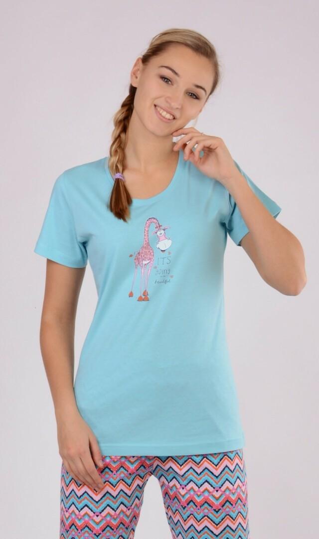 Dámské pyžamo s krátkým rukávem Žirafa Linda - světle šedá XL