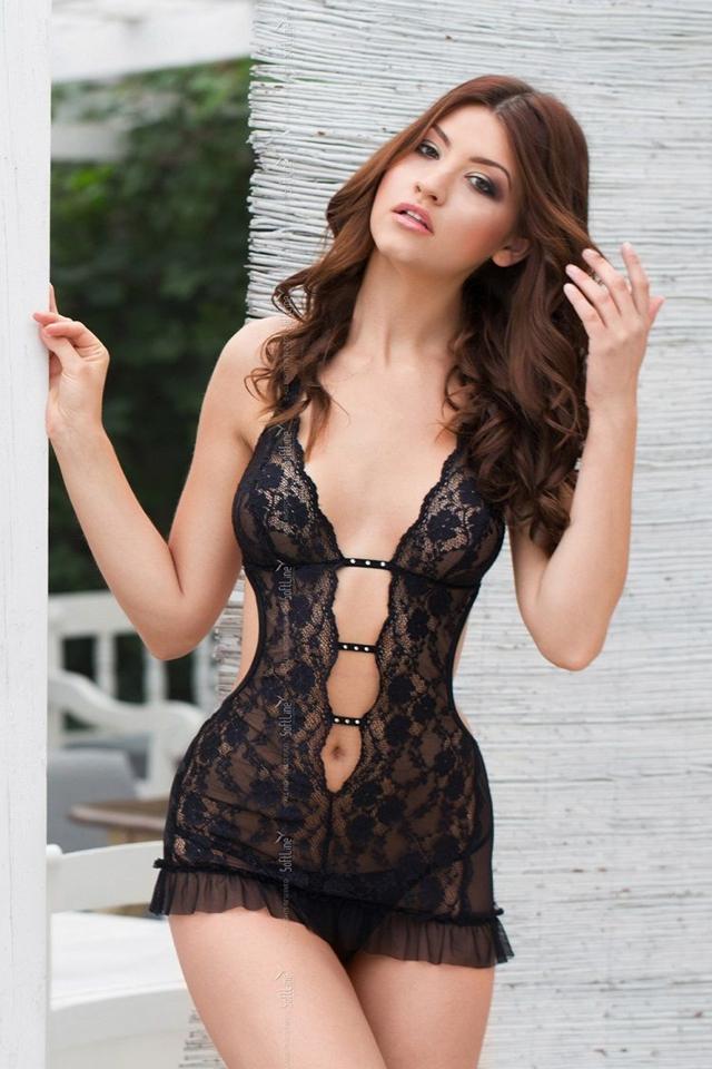 Erotická košilka Ursula black - S/M - černá