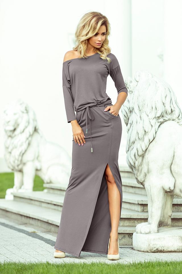 401074c21748 Šedé dámské sportovní šaty v maxi délce s rozparkem 220-6