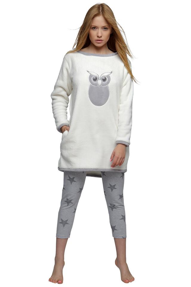 Hřejivá noční košile Sova s legínami - L/XL