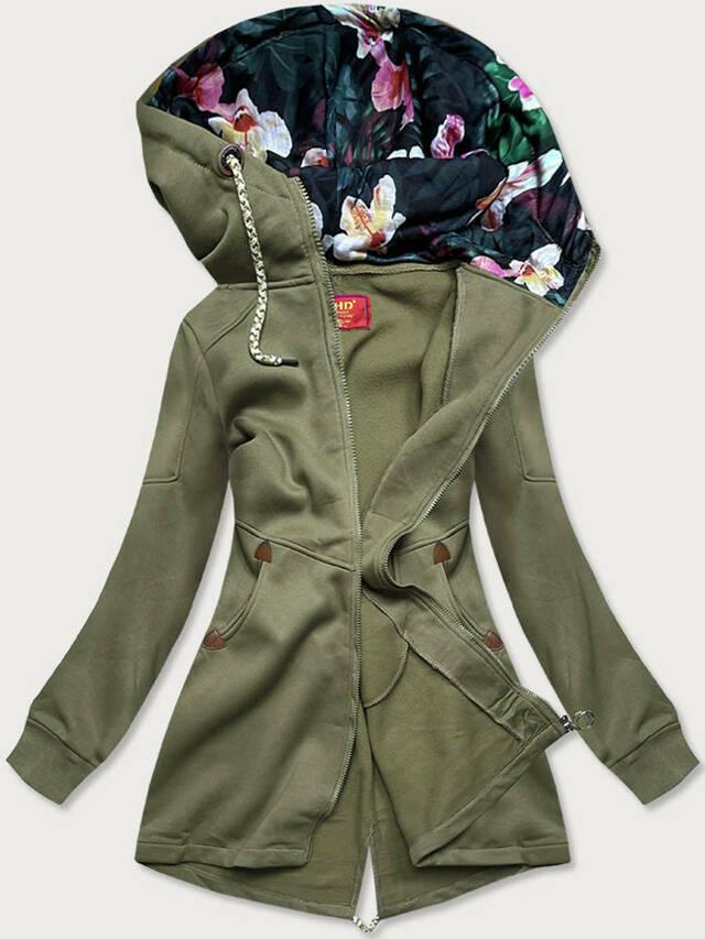 Dlouhá dámská mikina v khaki barvě s kapucí (AMG705) - S (36) - Khaki