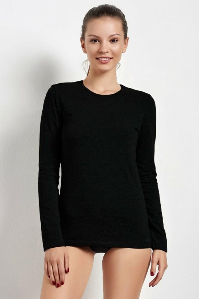 Dámské triko s dlouhým rukávem 20735 black - L - černá