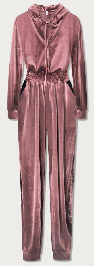 Dlouhý růžový velurový overal s kapucí (628ART) - jedna velikost - růžový