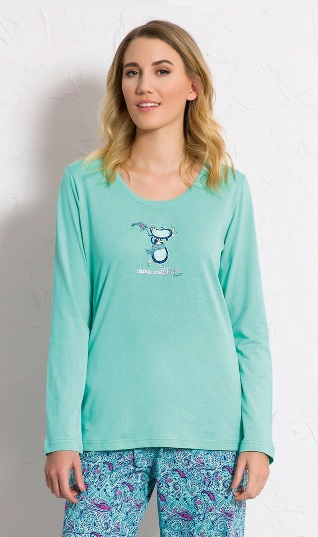 Dámské pyžamo dlouhé Tučňáci na ledě - šedá S