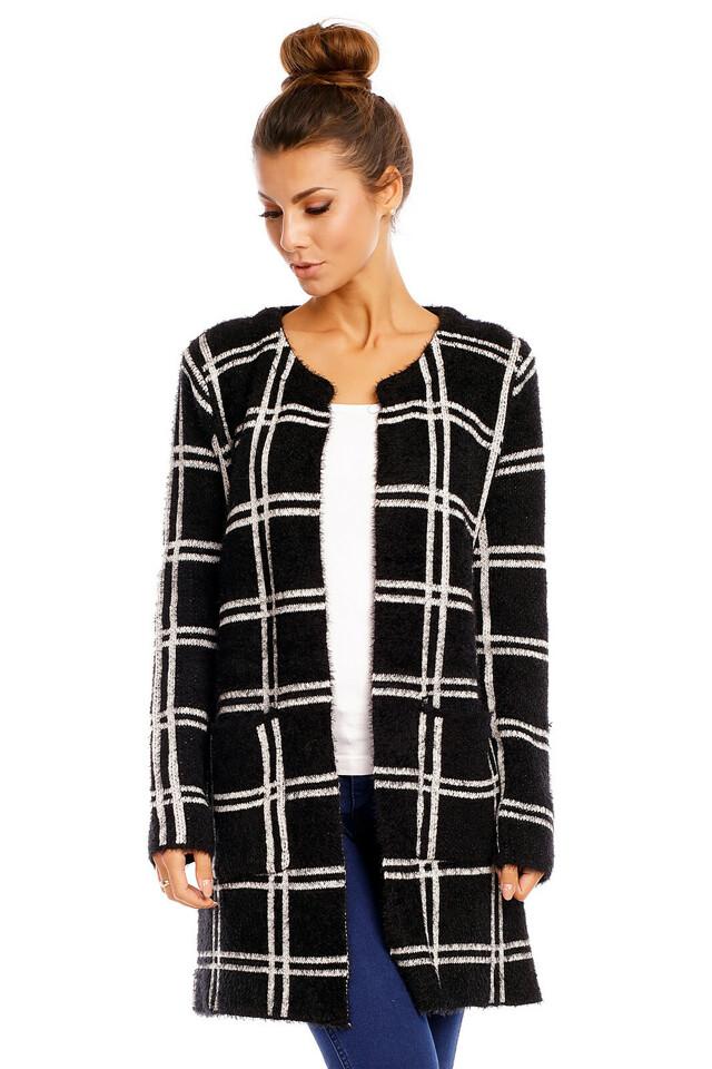 Dámský svetr cardigan dlouhý černo-bílý - Černo-bílá / S/M - LUXESTAR - L - černo-bílá