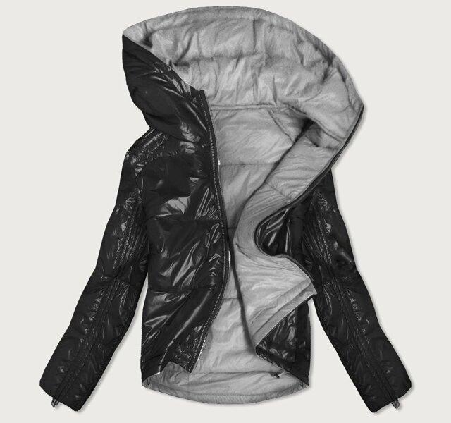 Oboustranná černo-šedá lesklá dámská bunda (B9553) - S (36) - černá