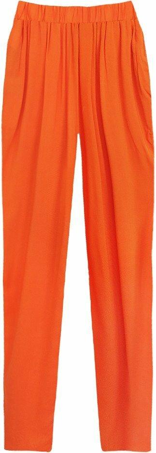Volné oranžové kalhoty s nařaseným pasem (9222) - S (36) - oranžová