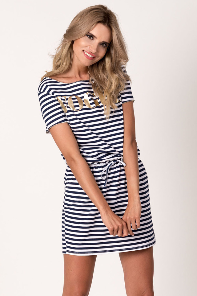 Dámské šaty v námořnickém stylu Avaro SU-1425 - UNI - bílo-tmavomodrá 0d395c0a251