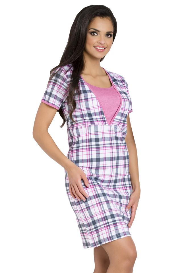 Mateřská noční košile Linda růžová káro - L
