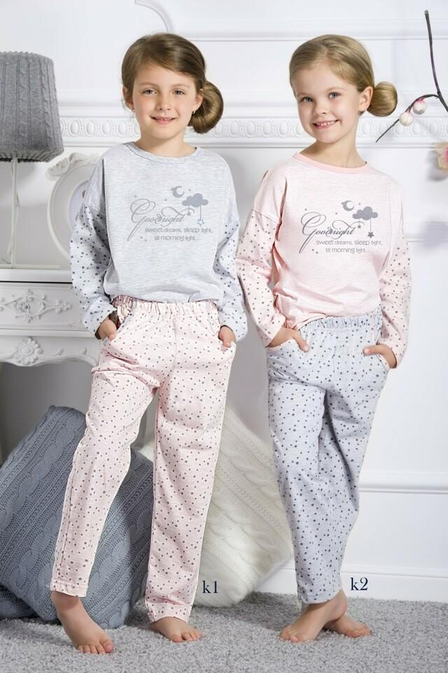 Dívčí pyžamo 1180 grey - 140 - šedá