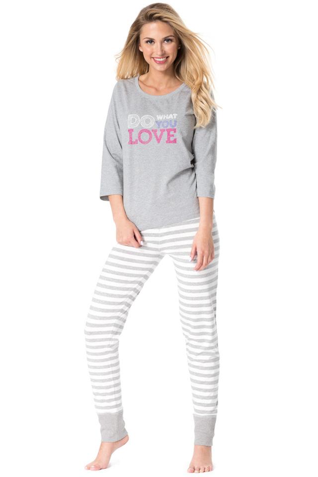 Dámské pyžamo Rossli SAL-PY 1082 - XL - šedá-žíhaná