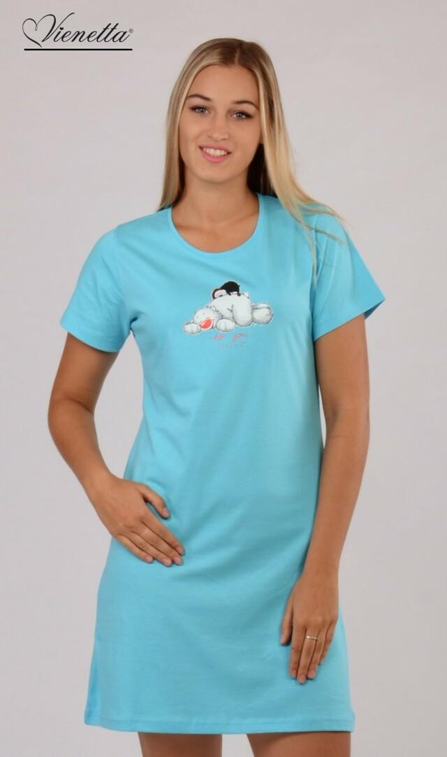 Dámská noční košile s krátkým rukávem Méďa a Tučňák