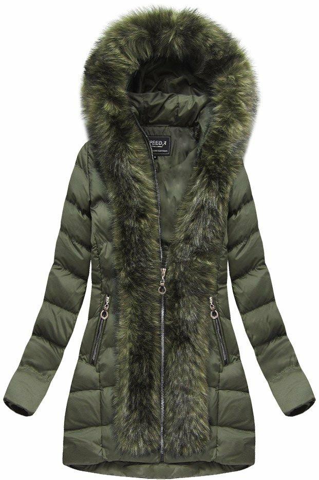 Khaki dámská prošívaná bunda (W756BIG) - 48 - khaki