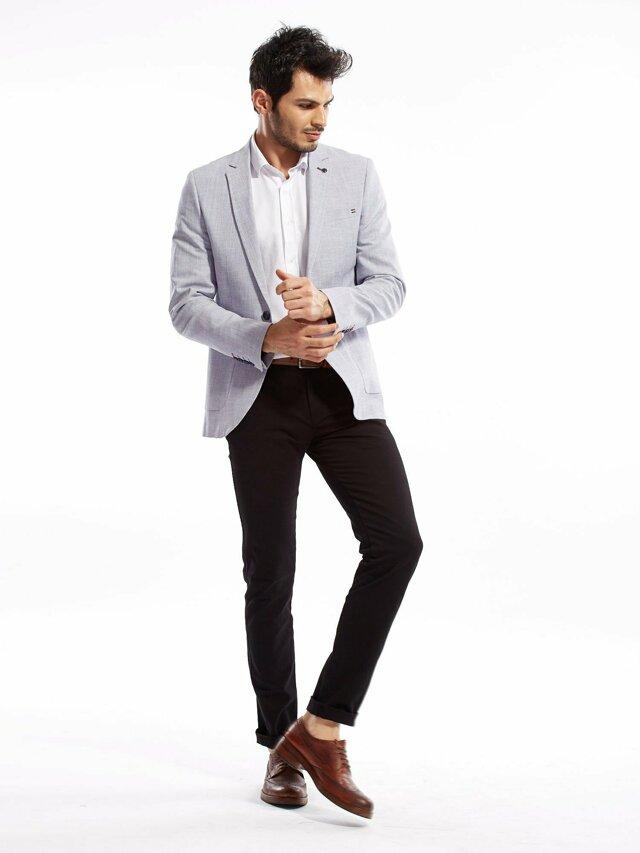 Černé slim fit pánské kalhoty - 46