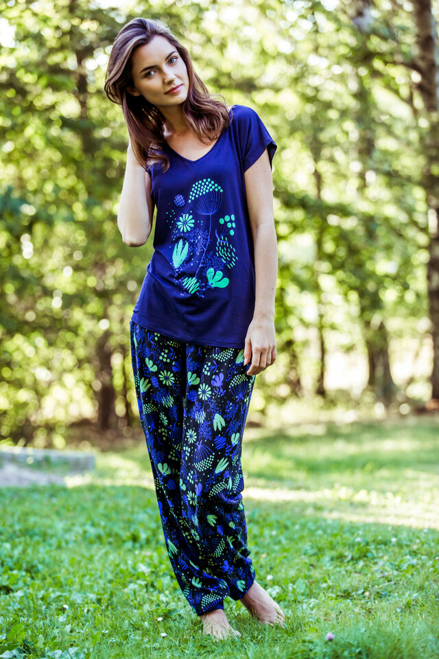 Dámské pyžamo Key LHS 571 A8 - S - tmavě modrá-černá
