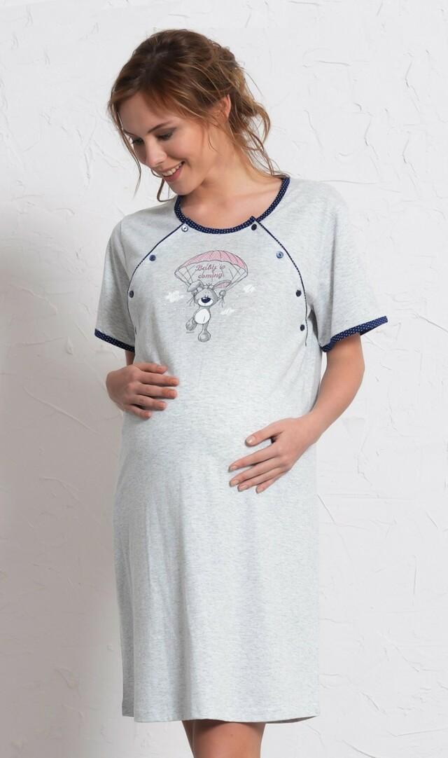 Dámská noční košile mateřská Méďa s padákem - šedá/tmavě modrá XL