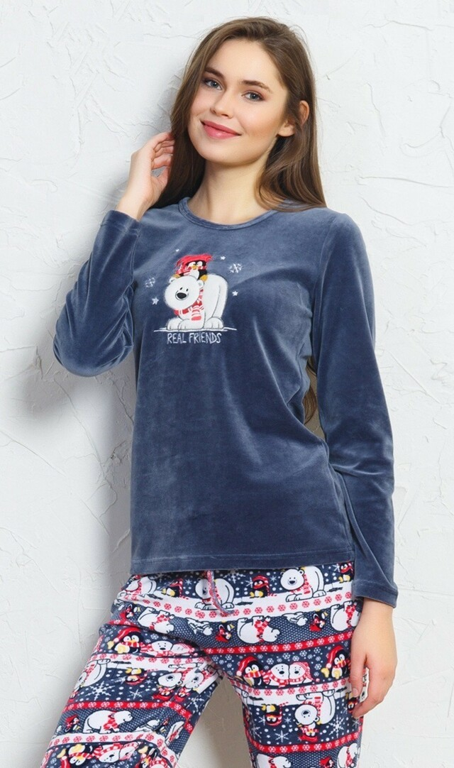 Dámské pyžamo dlouhé Friends - tmavě modrá S