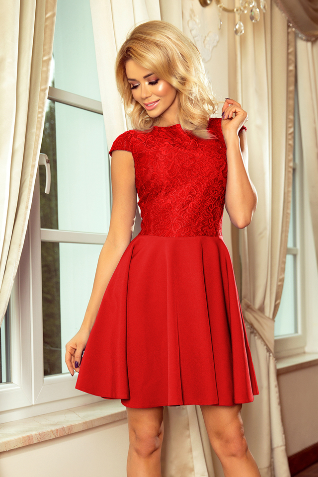 4727561591a6 Červené dámské šaty s krajkou 157-8 MARTA - L
