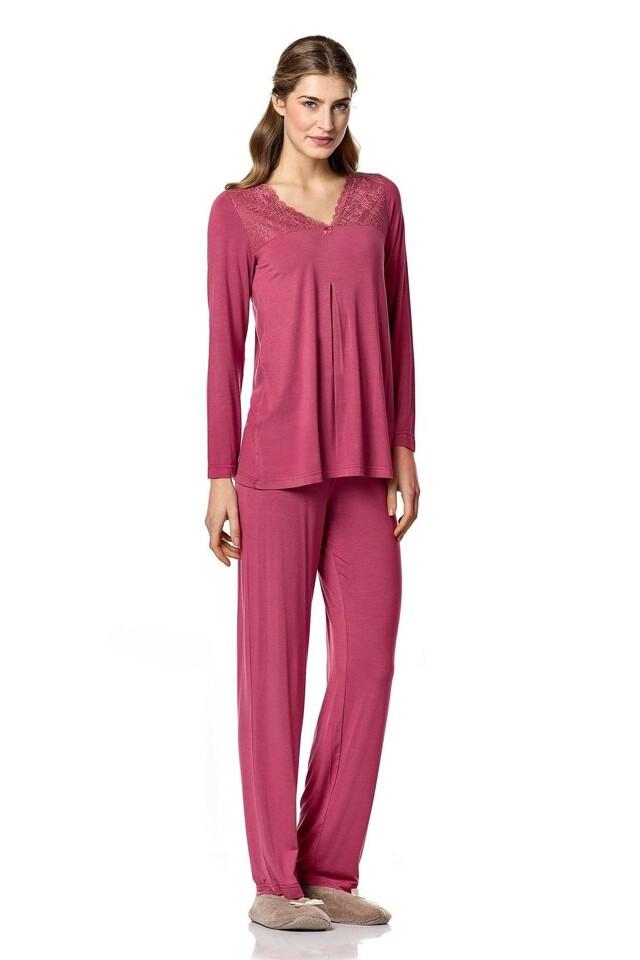 Dámské pyžamo 4786 - Vamp - XL - tm.růžová