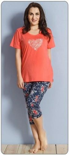 Dámské pyžamo Sára 6742 - Vienetta - 2XL - korálová-tmavě modrá