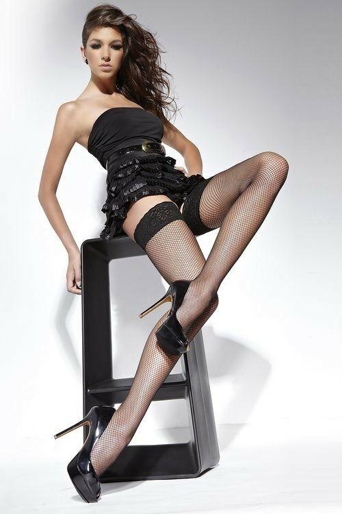 Samodržící punčochy Lucrezia black - L - černá