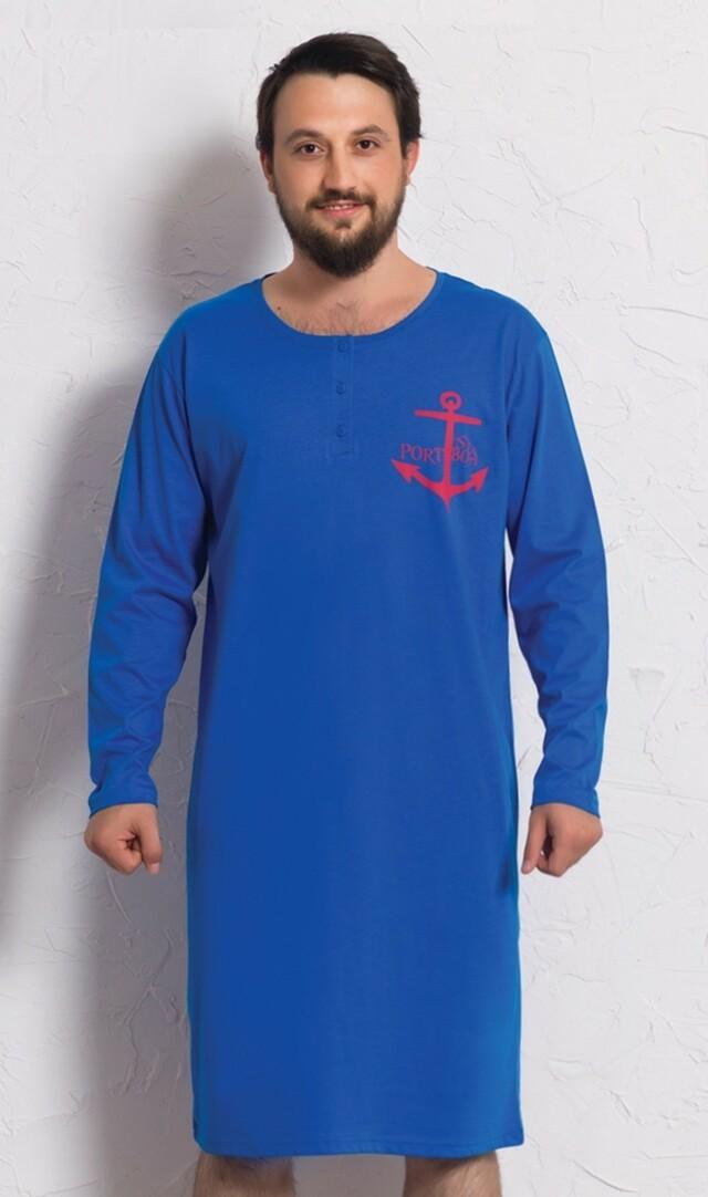 Pánská noční košile s dlouhým rukávem Kotva - tmavě modrá M