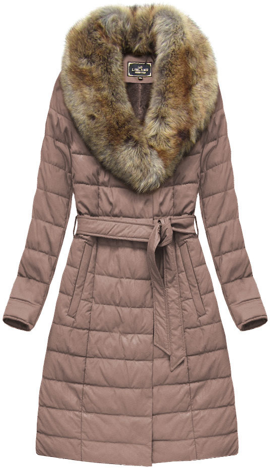 Růžový dámský dlouhý kabát (5528BIG) - 46 - růžová