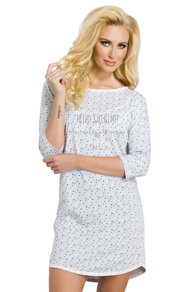 Dámská noční košile Moly šedá s hvězdičkami - M