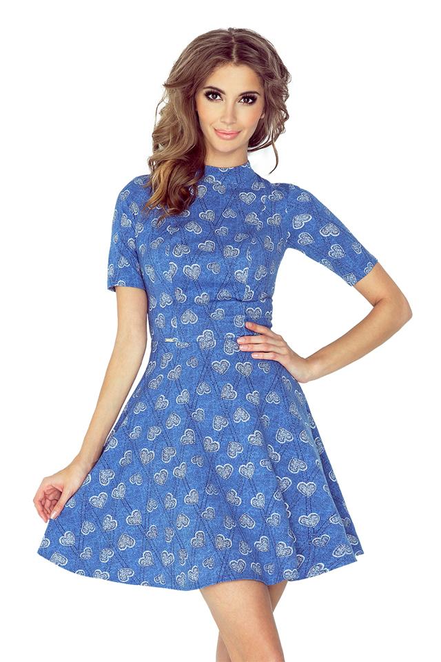 Vzorované šaty s polorolákem a krátkými rukávy MM 011-1